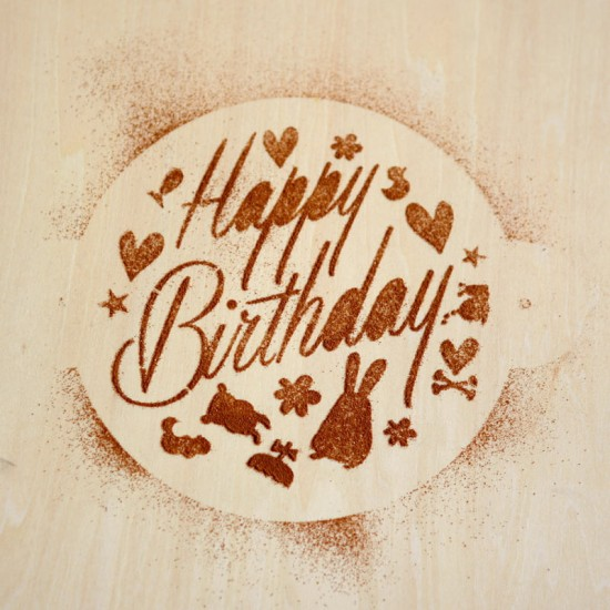 Happy Birthday Stencil | Cat & the Fiddle-Birthday-Cheesecake-Delivery